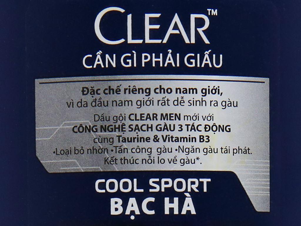 Dầu gội sạch gàu Clear Men Cool Sport bạc hà 359ml 6