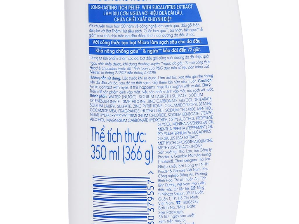 Dầu gội sạch gàu Head & Shoulders cho da đầu ngứa 350ml 8