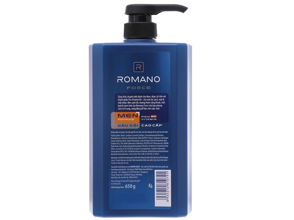 Dầu gội Romano Force nước hoa nam tính 650g 3