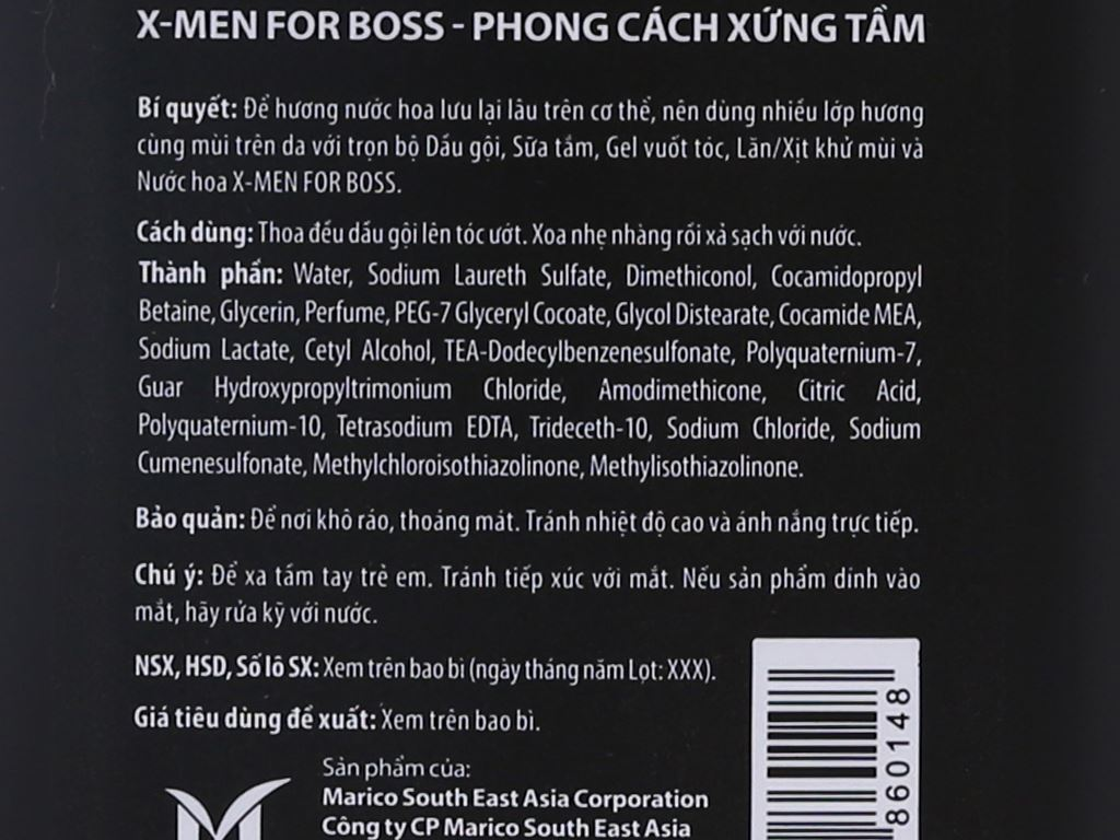 Dầu gội nước hoa X-Men For Boss Intense 380g 5