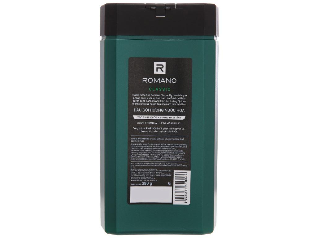 Dầu gội hương nước hoa Romano Classic tóc chắc khoẻ 380g 3