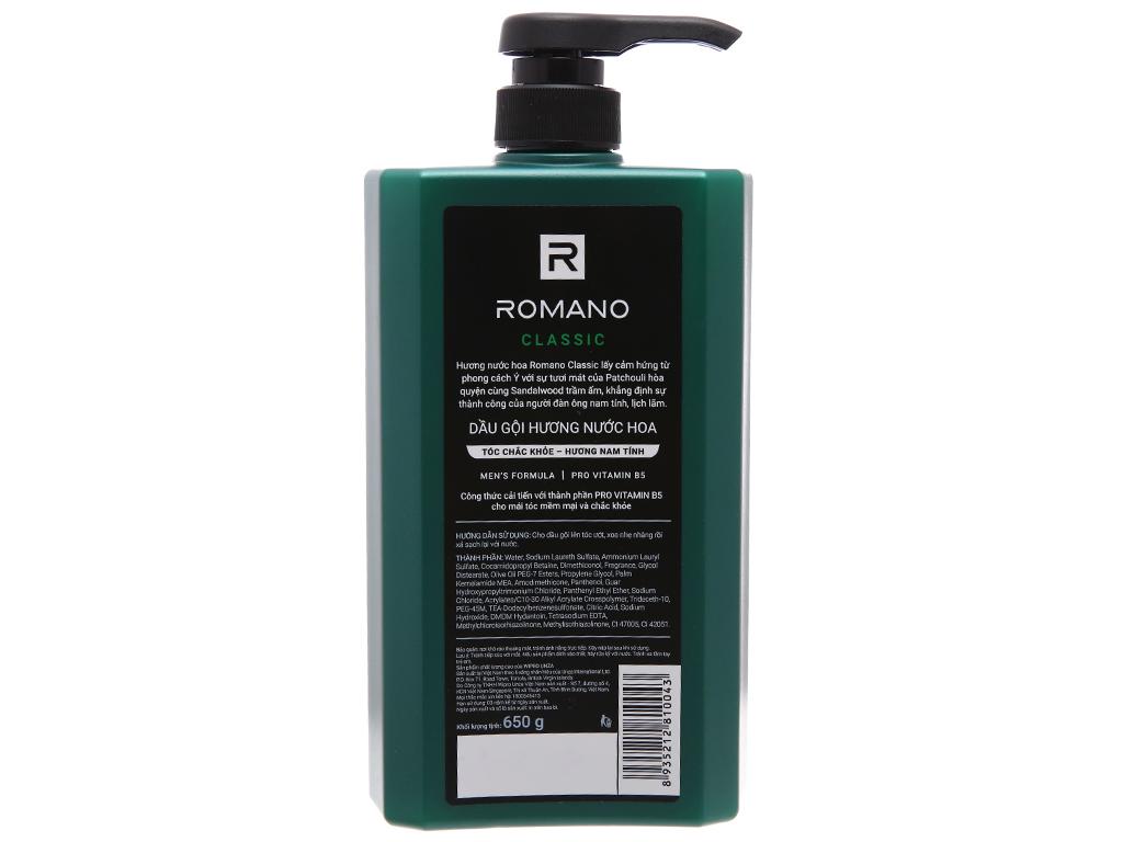 Dầu gội hương nước hoa Romano Classic 650g 3