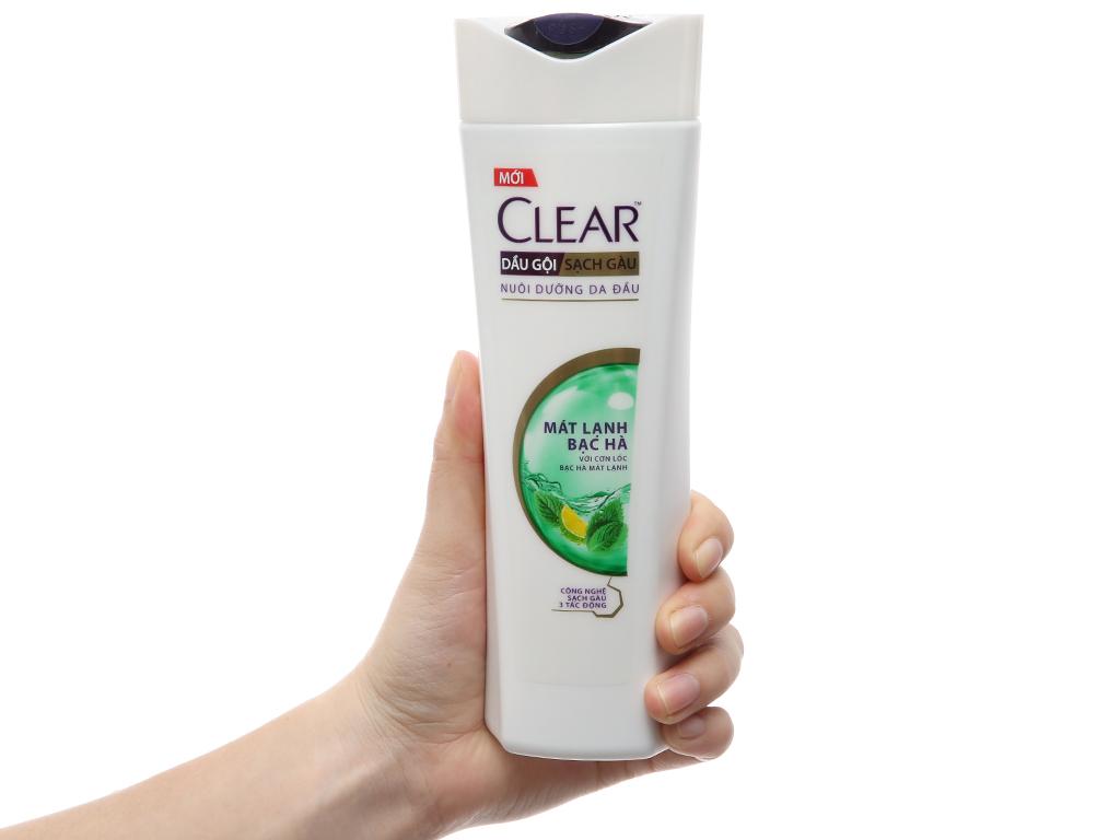 Dầu gội Clear sạch gàu mát lạnh bạc hà 370g 4