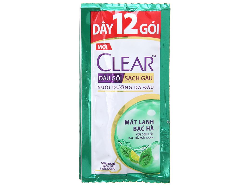 Dầu gội sạch gàu Clear mát lạnh bạc hà 5.8ml x 12 gói 2