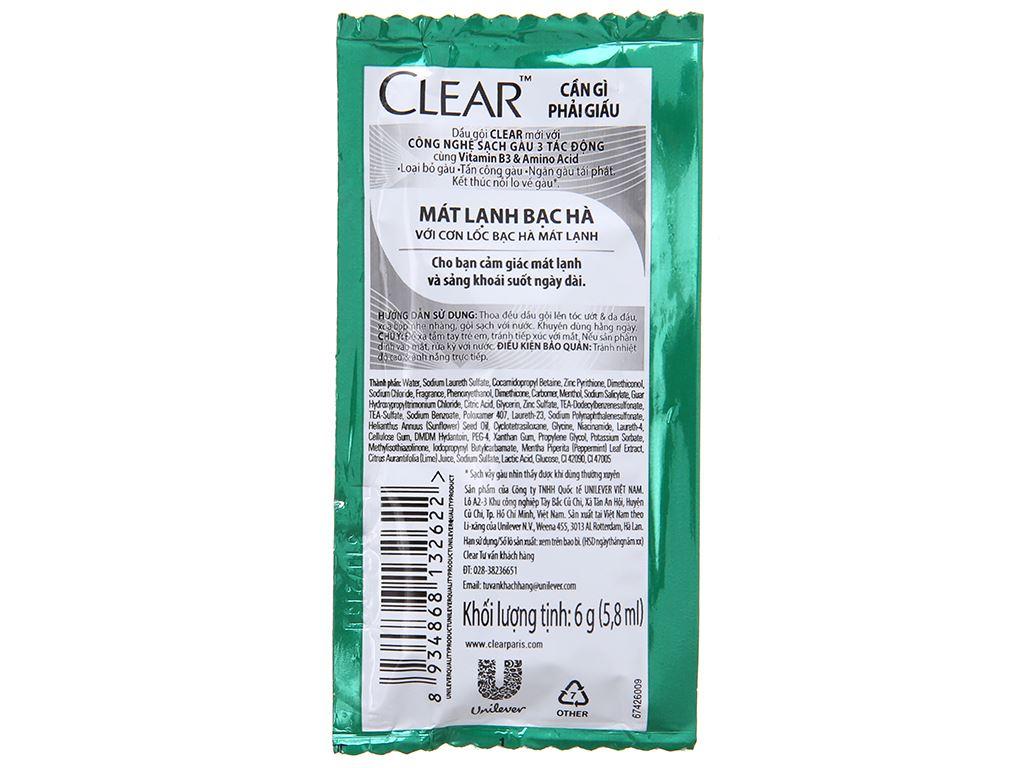 Dầu gội sạch gàu Clear mát lạnh bạc hà 5.8ml x 12 gói 3