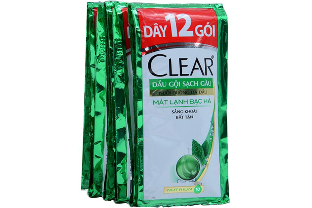 Dầu gội sạch gàu Clear mát lạnh Bạc Hà 6g (dây 12 gói)