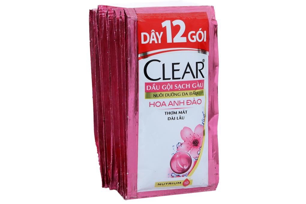 Dầu gội sạch gàu Clear hương hoa Anh Đào 6g (dây 12 gói)
