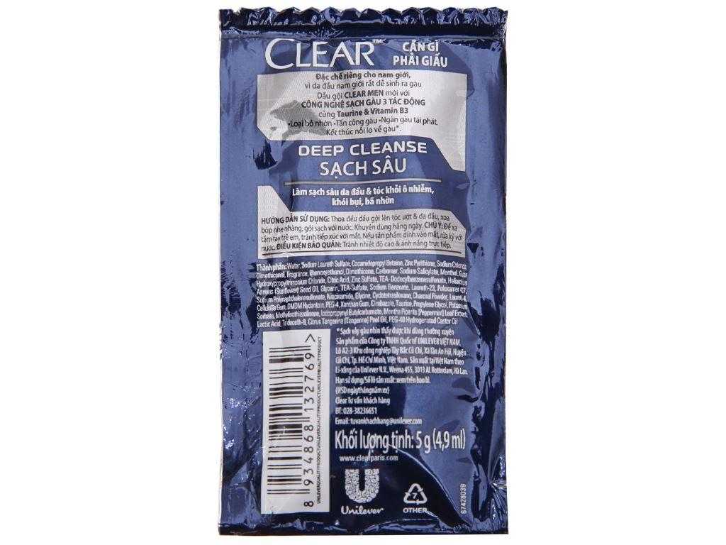 Dầu gội sạch gàu Clear Men Deep Cleanse sạch sâu 4.9ml x 12 gói 4