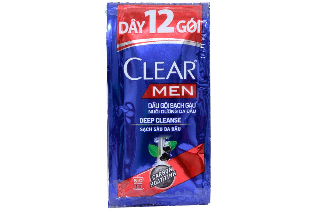 Dầu gội sạch gàu Clear Men sạch sâu da đầu 5g (dây 12 gói)