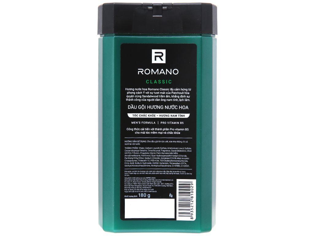 Dầu gội Romano Classic hương nước hoa 180g 3