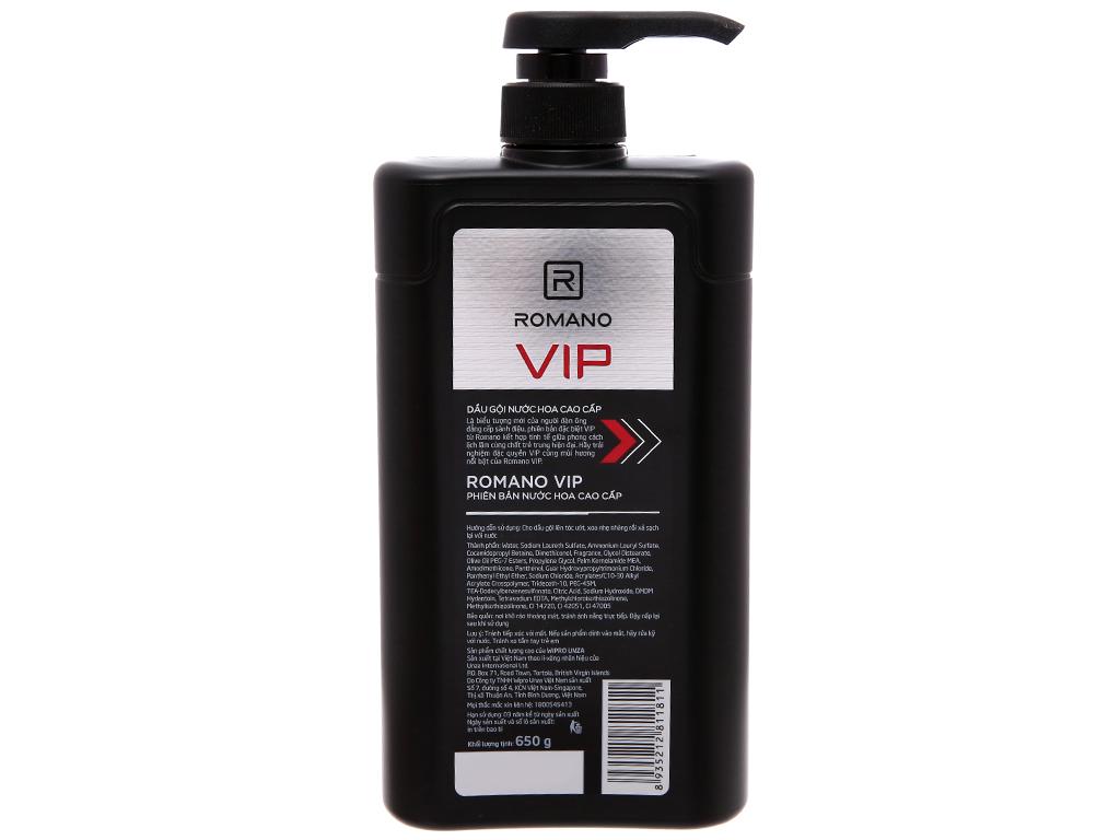 Dầu gội nước hoa cao cấp Romano VIP 650g 3