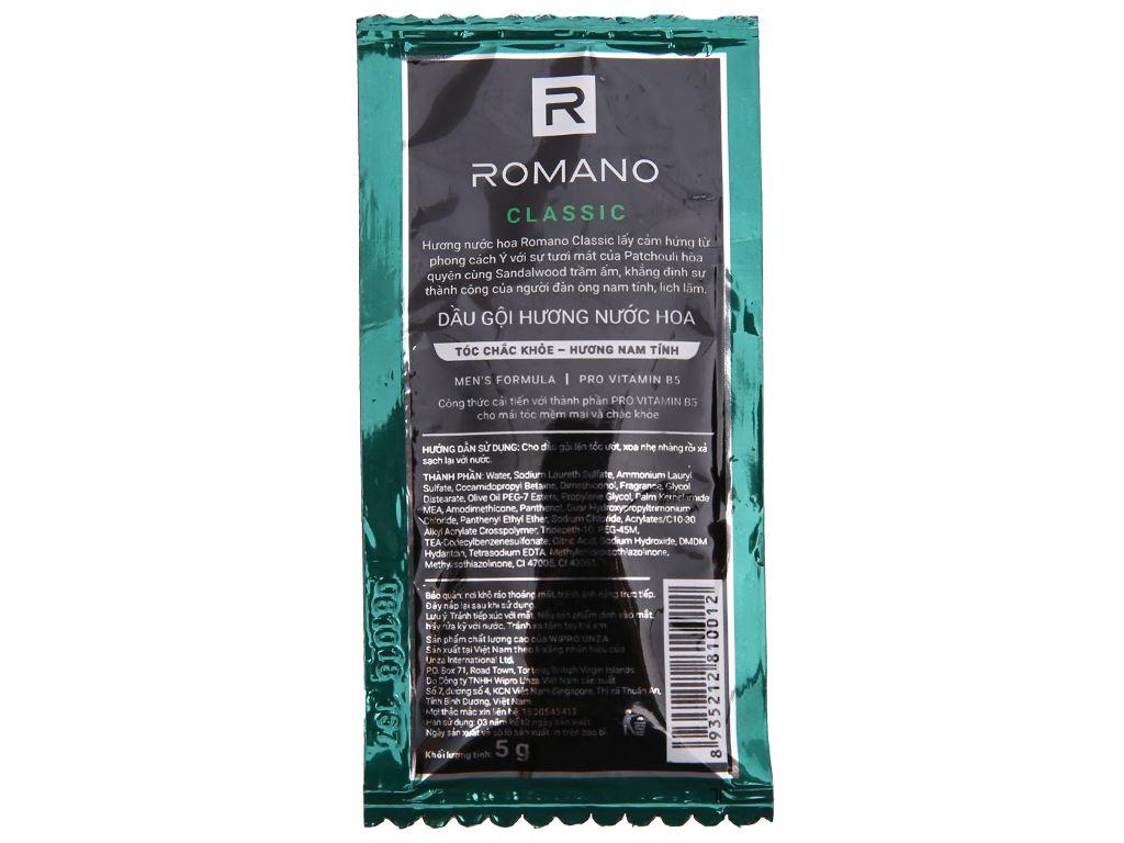 Dầu gội hương nước hoa Romano Classic tóc chắc khoẻ 5g x 12 gói 4