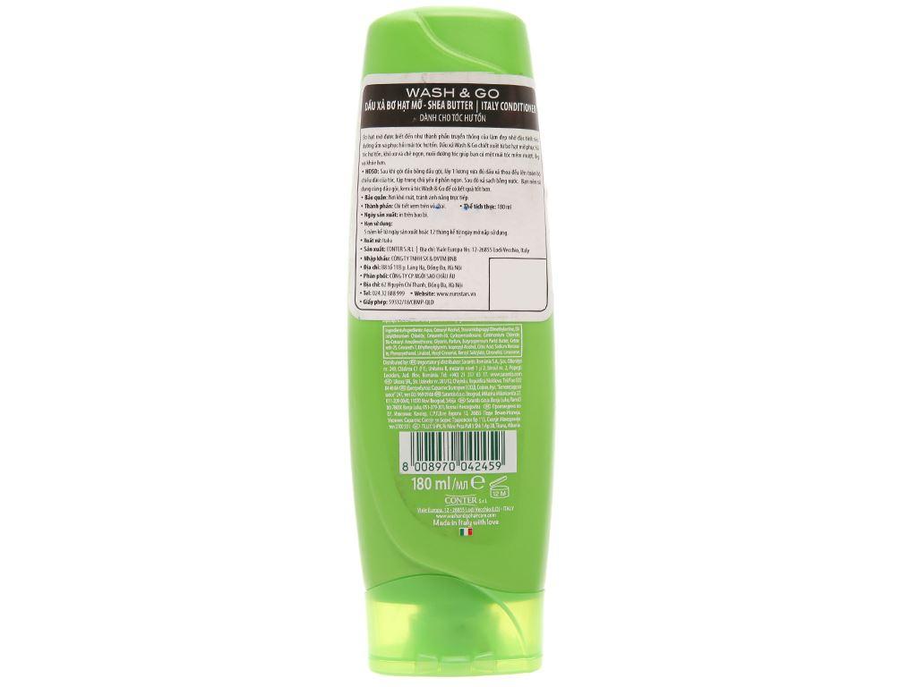 Dầu xả bơ hạt mỡ Wash&Go dành cho tóc hư tổn 180ml 2