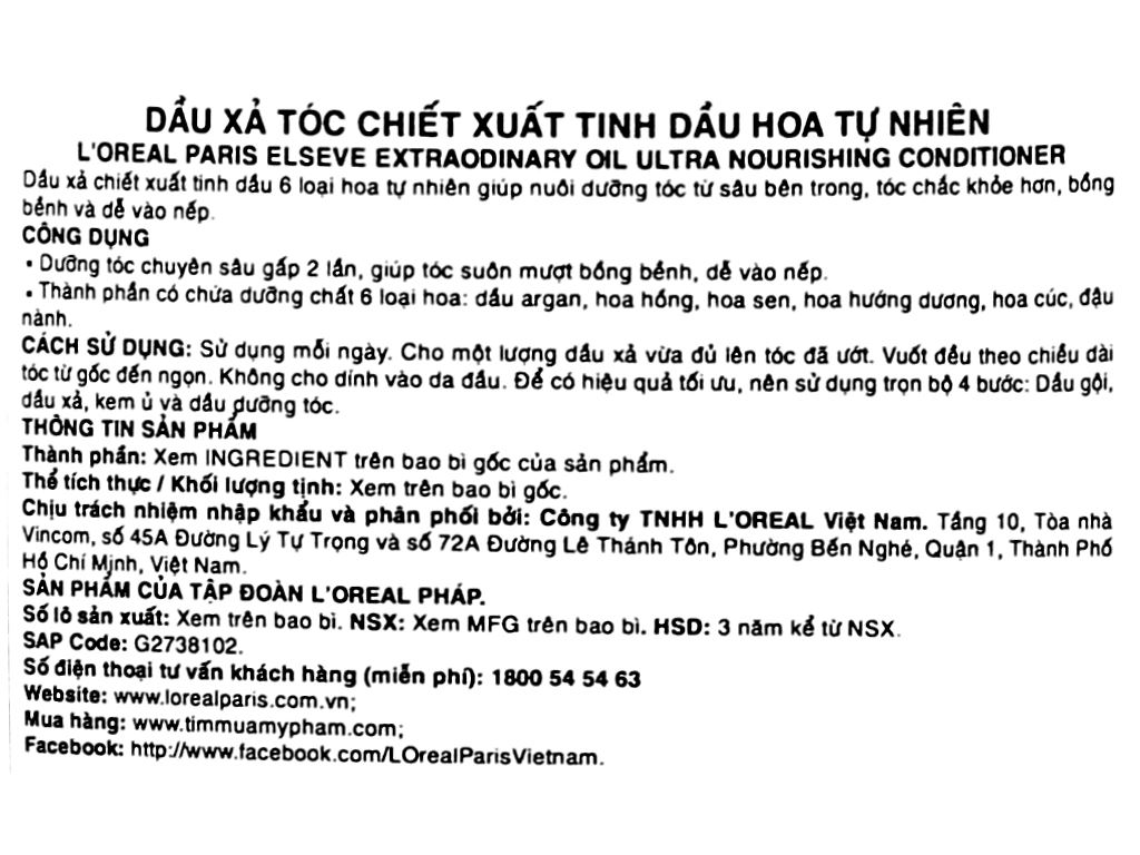 Dầu xả dưỡng tóc L'Oréal Elseve tinh dầu hoa 325ml 3