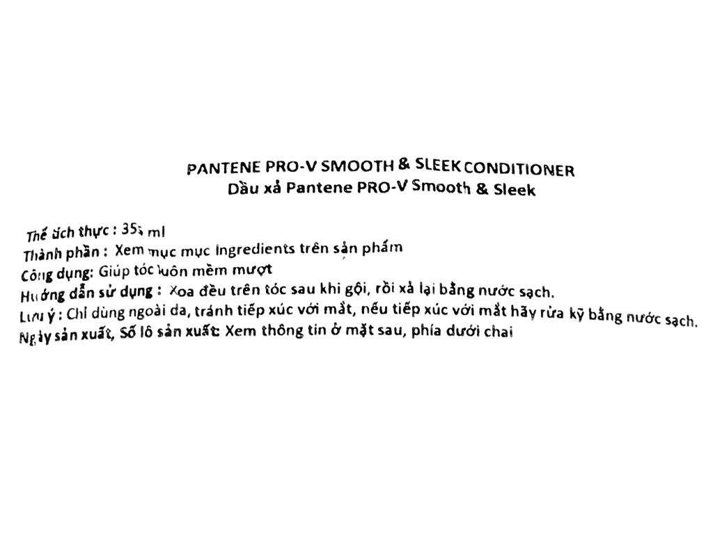 Dầu xả Pantene Pro-V Smooth & Sleek mềm mượt 335ml 3