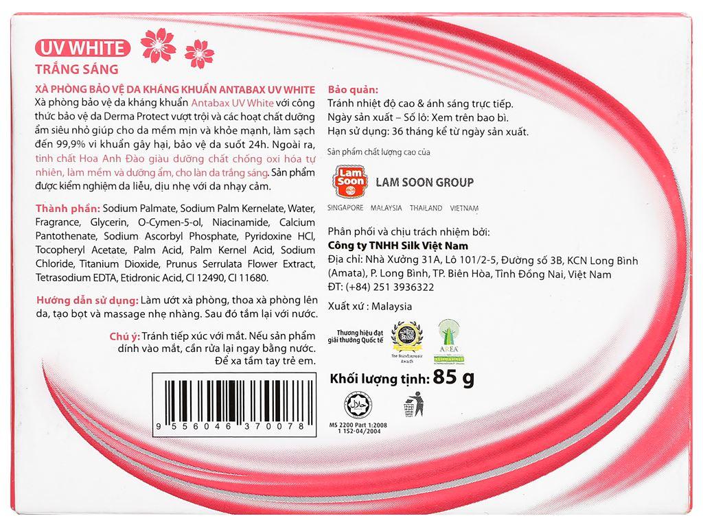 Xà phòng bảo vệ da kháng khuẩn Antabax UV White trắng sáng 85g 2