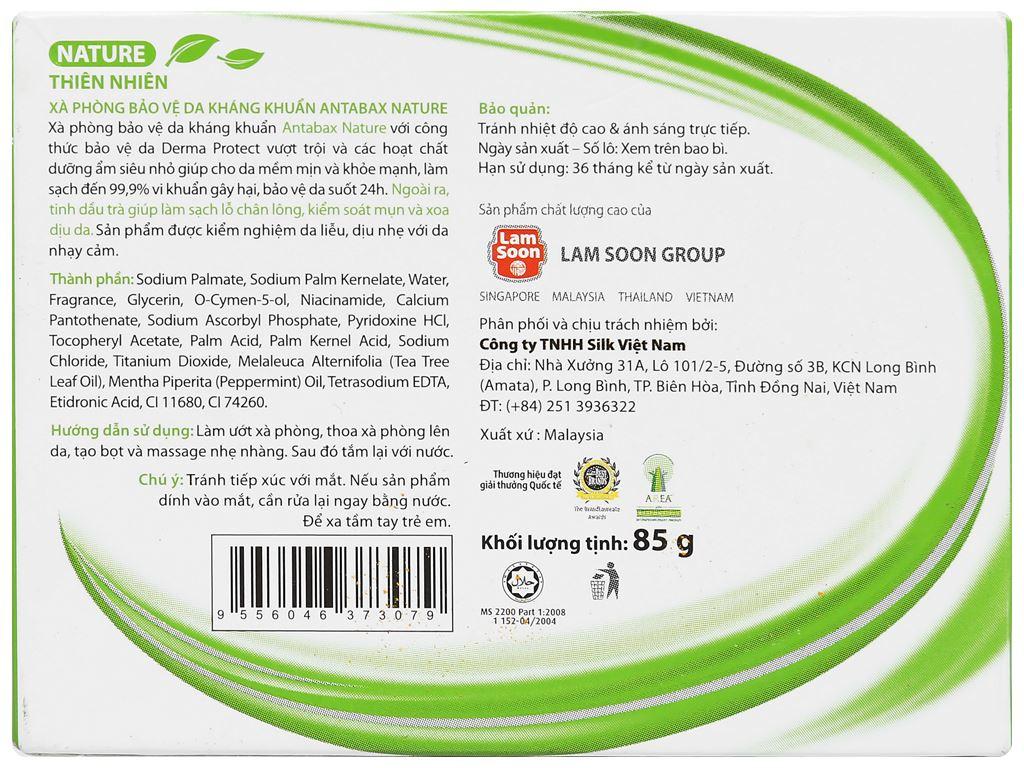 Xà phòng bảo vệ da kháng khuẩn Antabax Nature thiên nhiên 85g 2