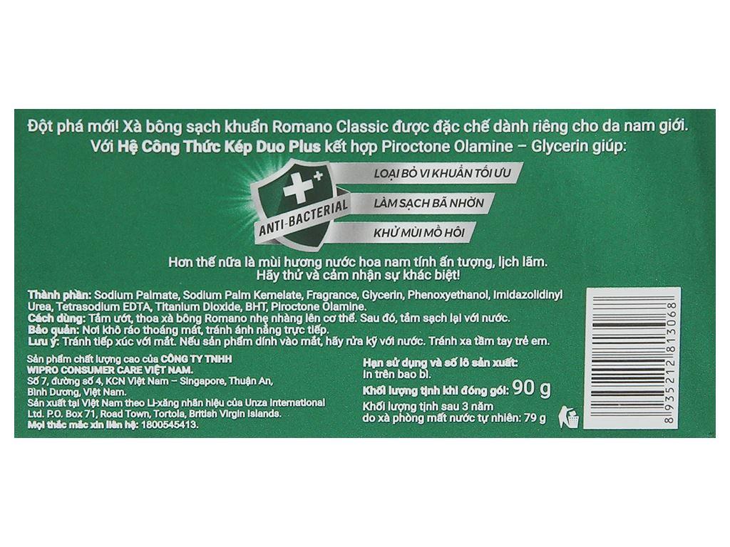 Xà bông sạch khuẩn Romano Classic 90g 3