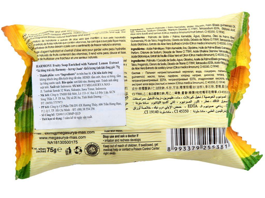Xà bông trái cây Harmony hương chanh 75g 1