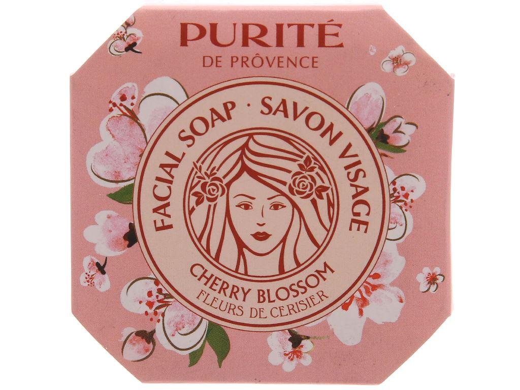 Xà bông cục Purite By Provence rửa mặt hoa anh đào 75g 2