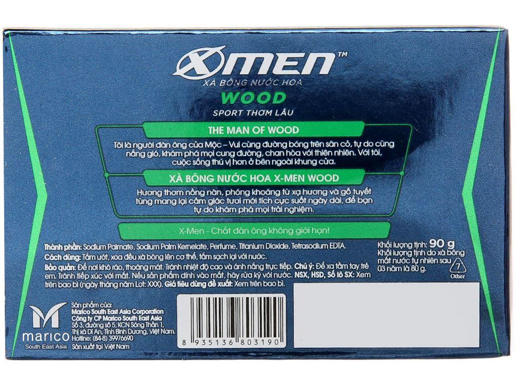 Xà bông nước hoa X-Men Wood Sport thơm lâu 90g 3