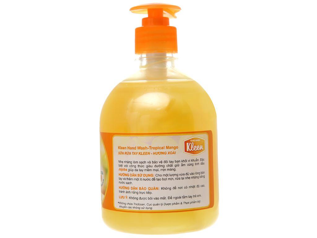 Nước rửa tay Kleen hương xoài chai 500ml 2