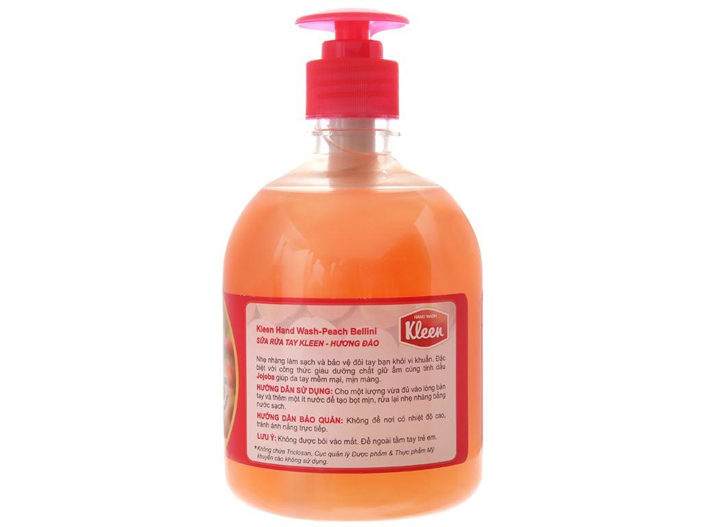 Nước rửa tay Kleen hương đào chai 500ml 3