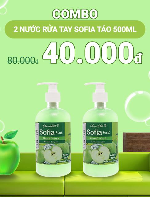 Combo 2 chai nước rửa tay Sofia hương táo chai 500ml