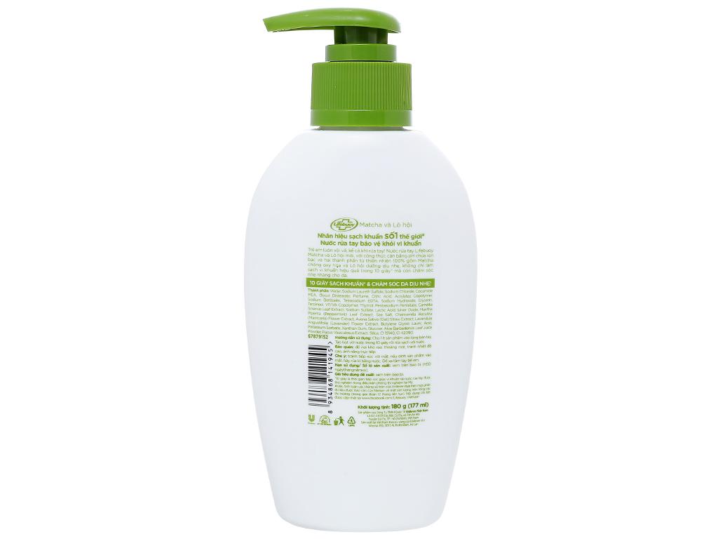 Nước rửa tay Lifebuoy matcha và lô hội chai 177ml 2
