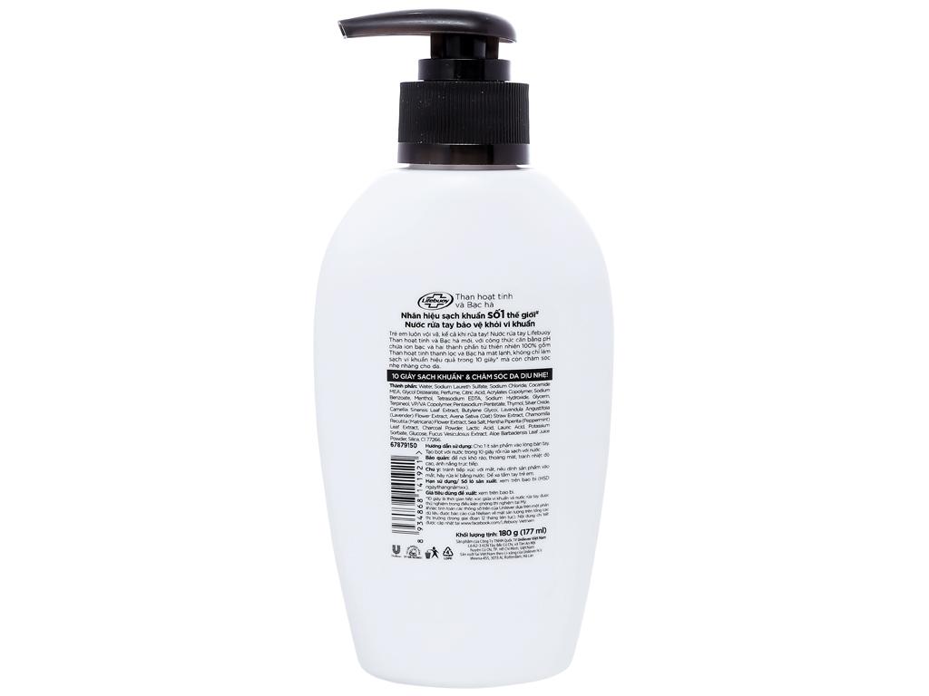 Nước rửa tay Lifebuoy than hoạt tính và bạc hà 177ml 2
