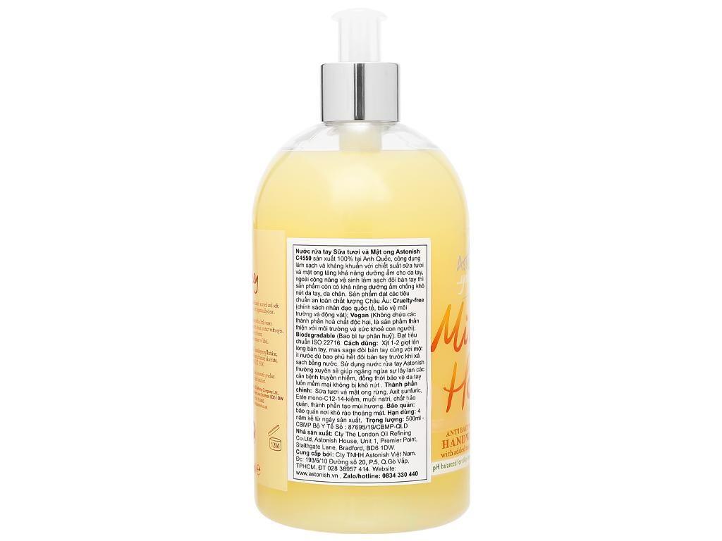 Nước rửa tay Astonish sữa tươi và mật ong 500ml 3