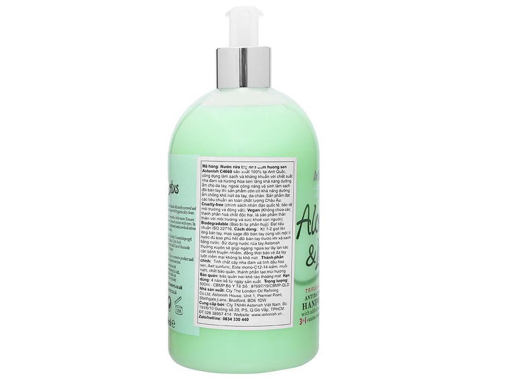 Nước rửa tay Astonish nha đam hương sen 500ml 3