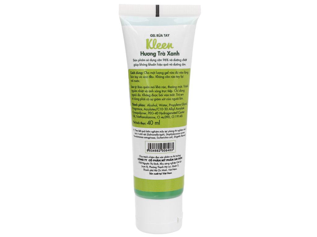 Gel rửa tay khô Kleen hương trà xanh chai 40ml 2
