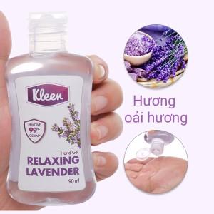 Gel rửa tay khô Kleen hương oải hương chai 90ml