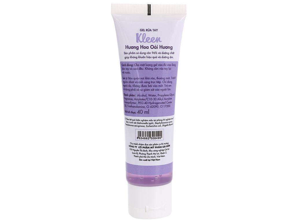 Gel rửa tay khô Kleen hương oải hương chai 40ml 2