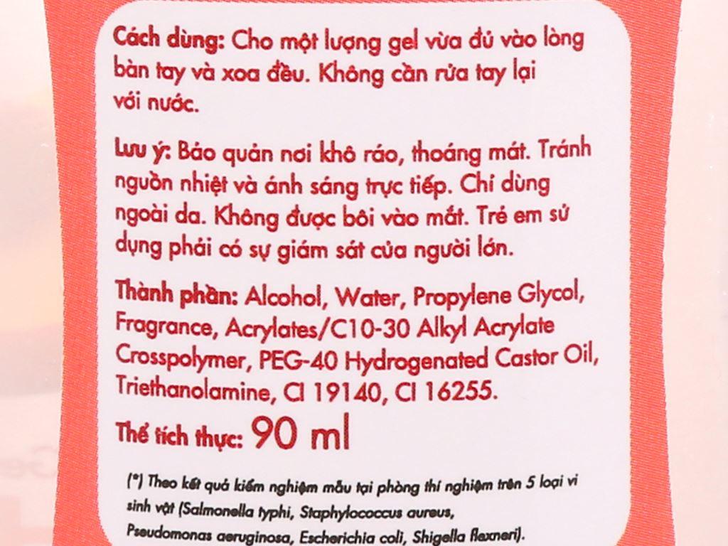 Gel rửa tay khô Kleen hương đào chai 90ml 3