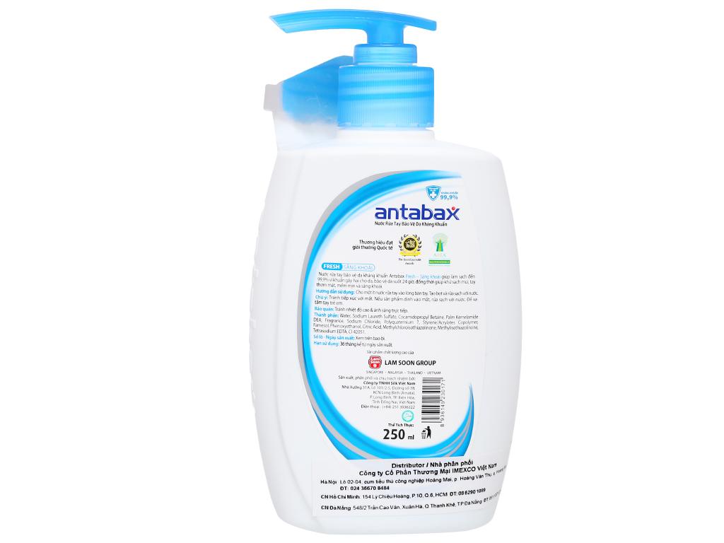 Nước rửa tay kháng khuẩn Antabax sảng khoái chai 250ml 2