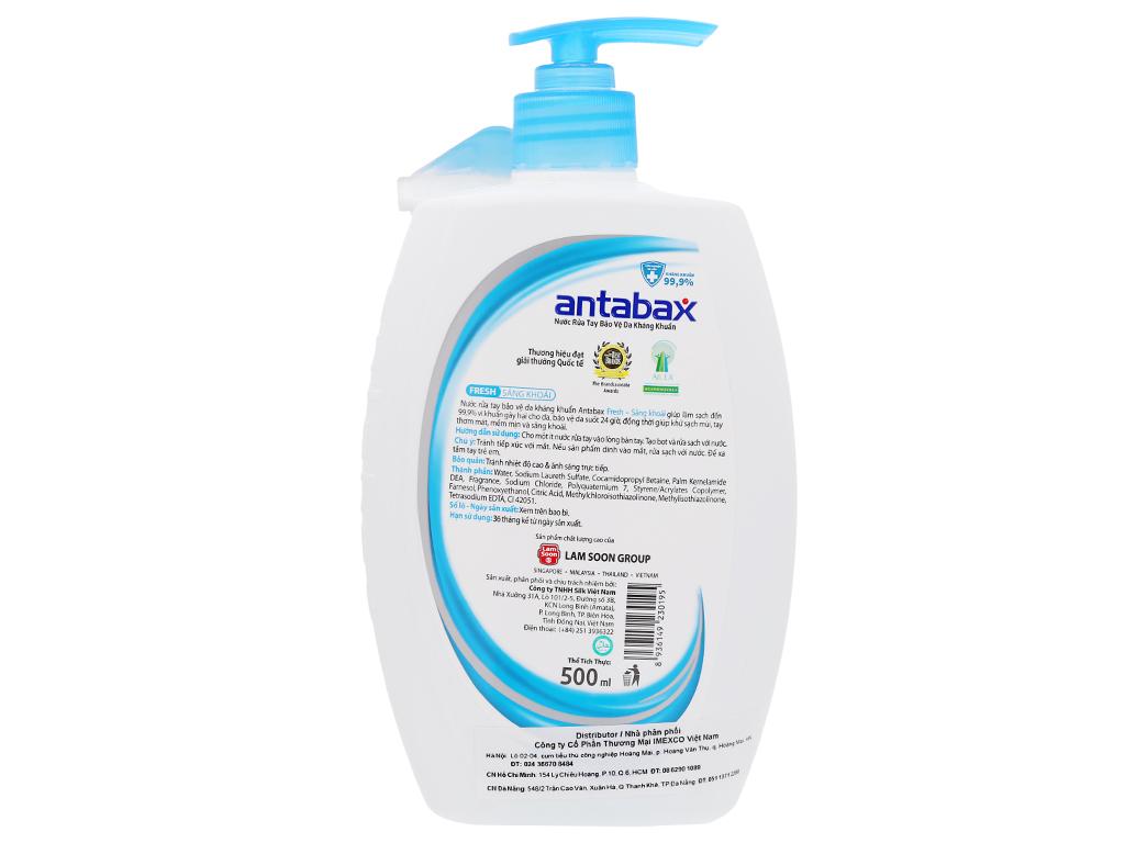 Nước rửa tay kháng khuẩn Antabax sảng khoái chai 500ml 2