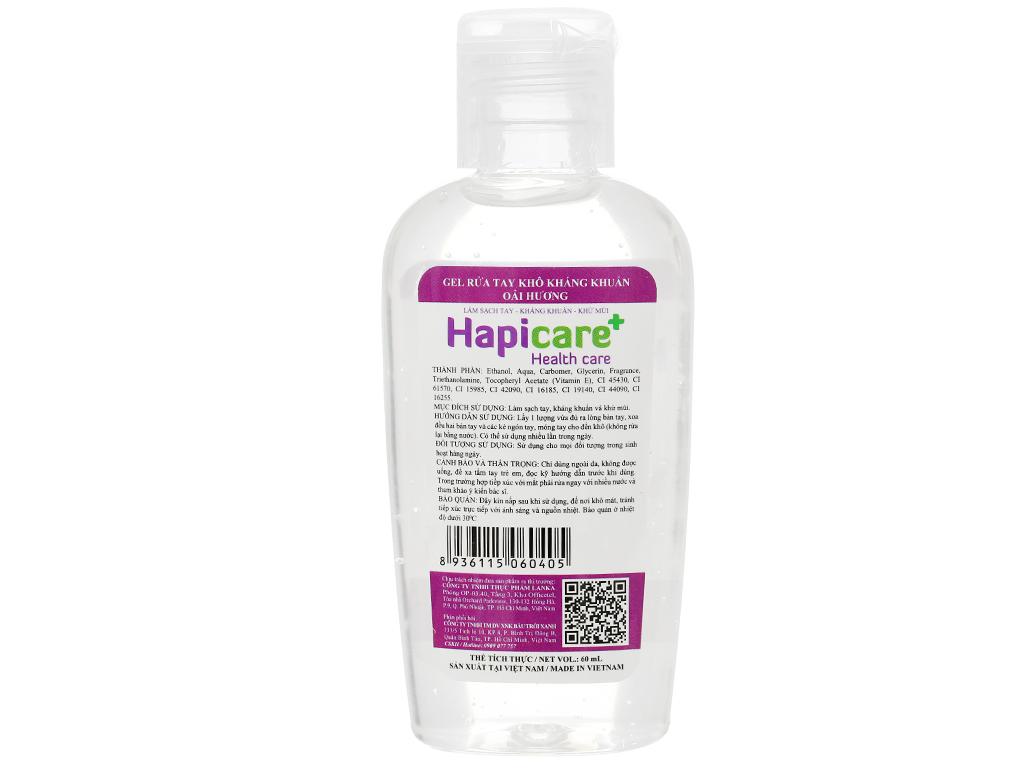 Gel rửa tay khô kháng khuẩn Hapicare hương oải hương chai 60ml 2