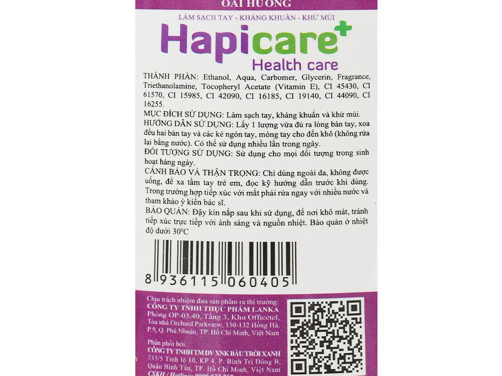 Gel rửa tay khô kháng khuẩn Hapicare hương oải hương chai 60ml 3