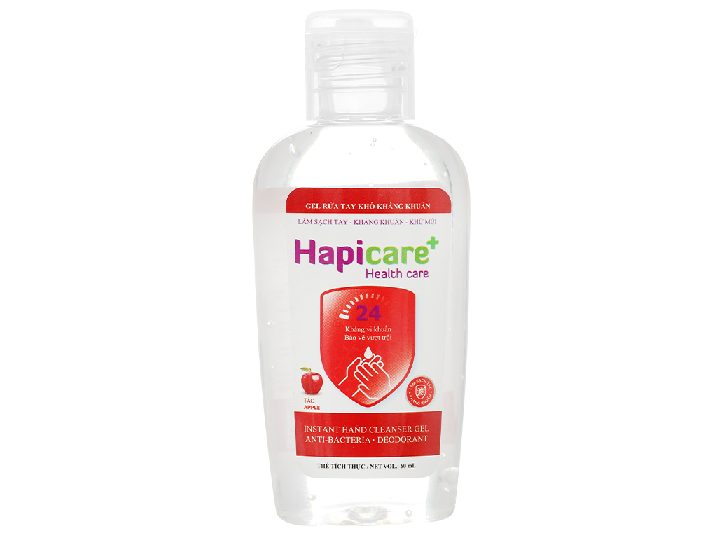 Gel rửa tay khô kháng khuẩn Hapicare hương táo chai 60ml 1