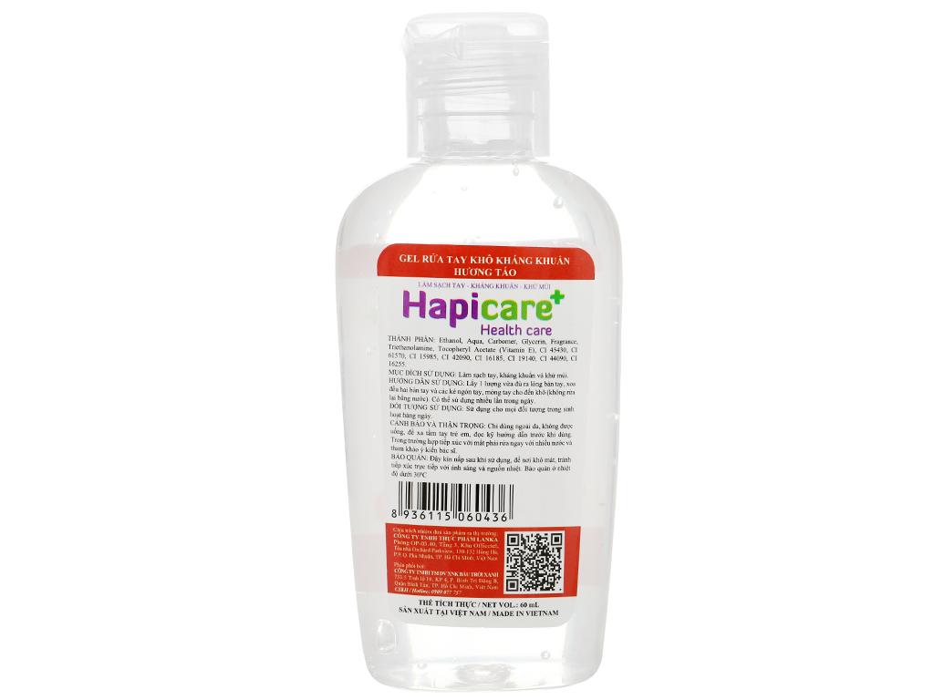 Gel rửa tay khô kháng khuẩn Hapicare hương táo chai 60ml 2