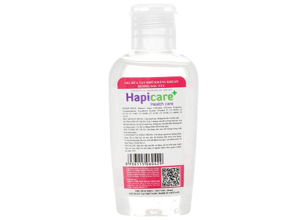 Gel rửa tay khô kháng khuẩn Hapicare hương dâu chai 60ml 2