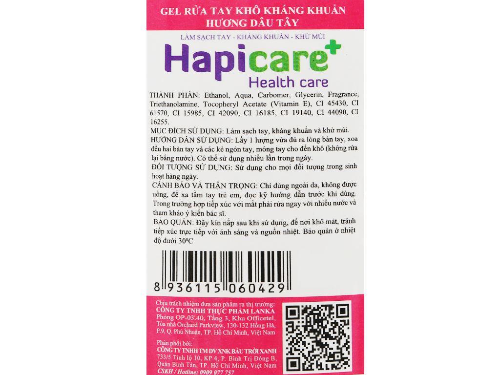 Gel rửa tay khô kháng khuẩn Hapicare hương dâu chai 60ml 3