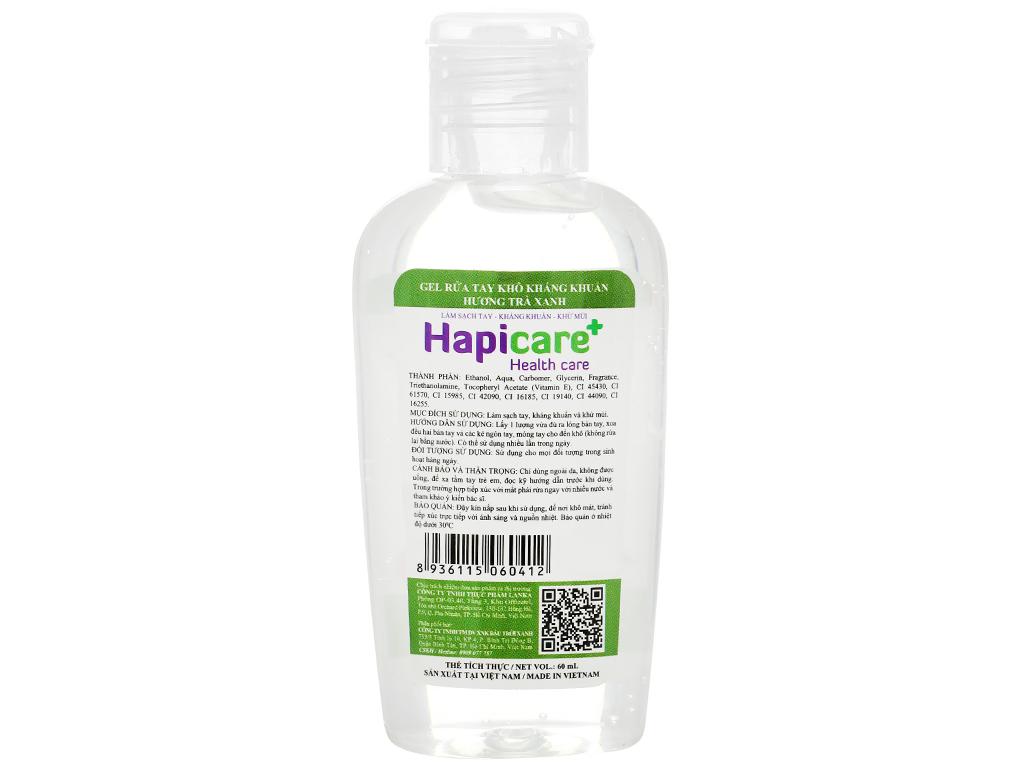 Gel rửa tay khô kháng khuẩn Hapicare hương trà xanh chai 60ml 2