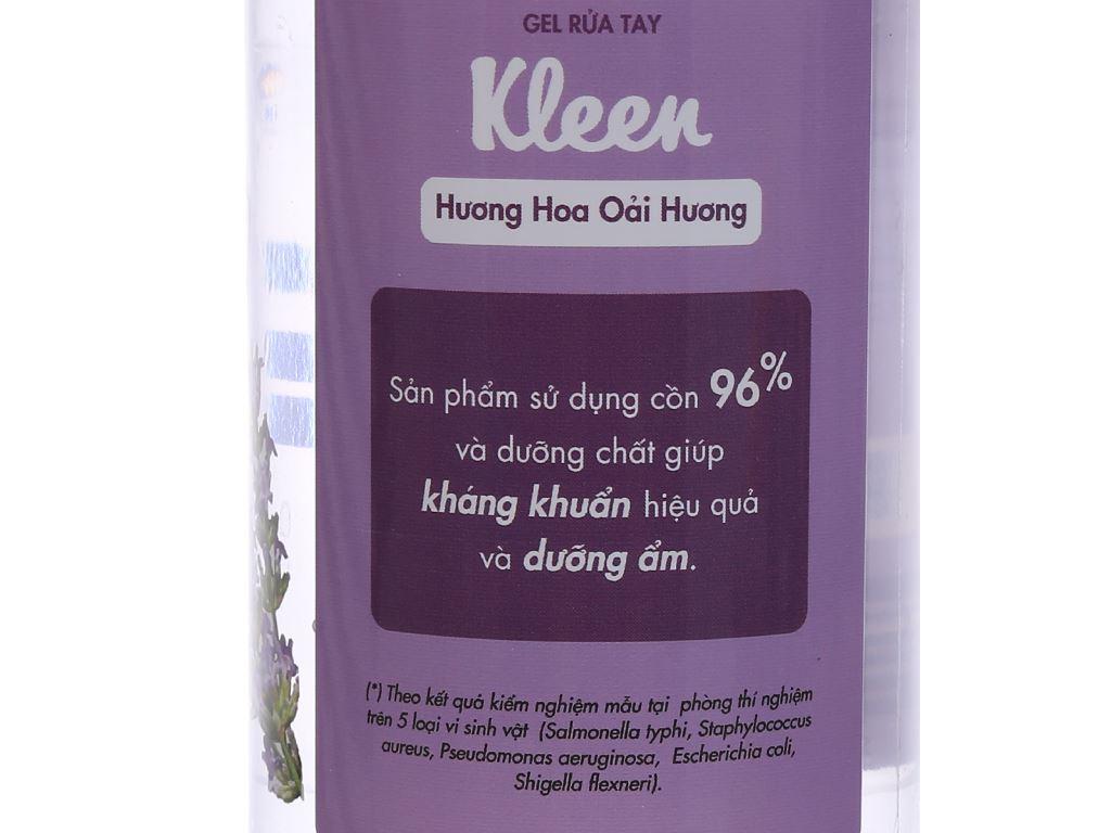 Gel rửa tay khô Kleen hương oải hương chai 320ml 3