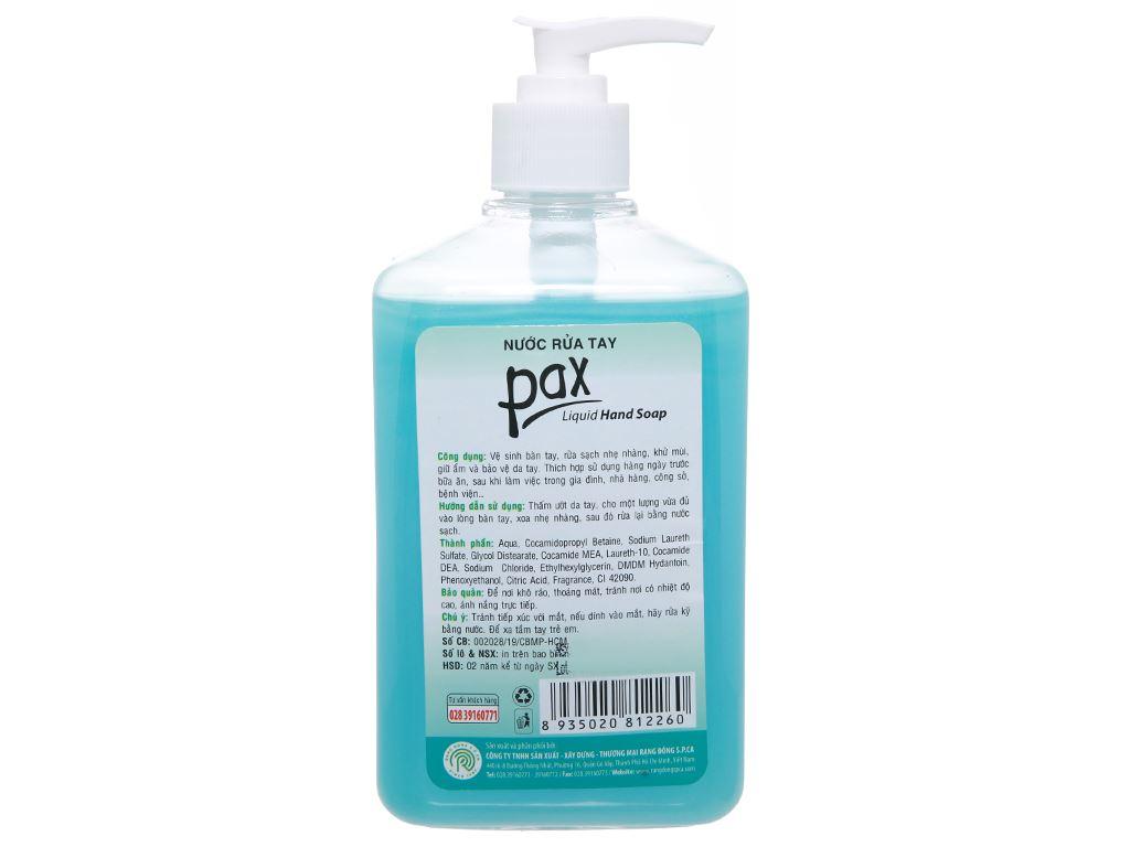 Nước rửa tay Pax hương trà xanh chai 600ml 2