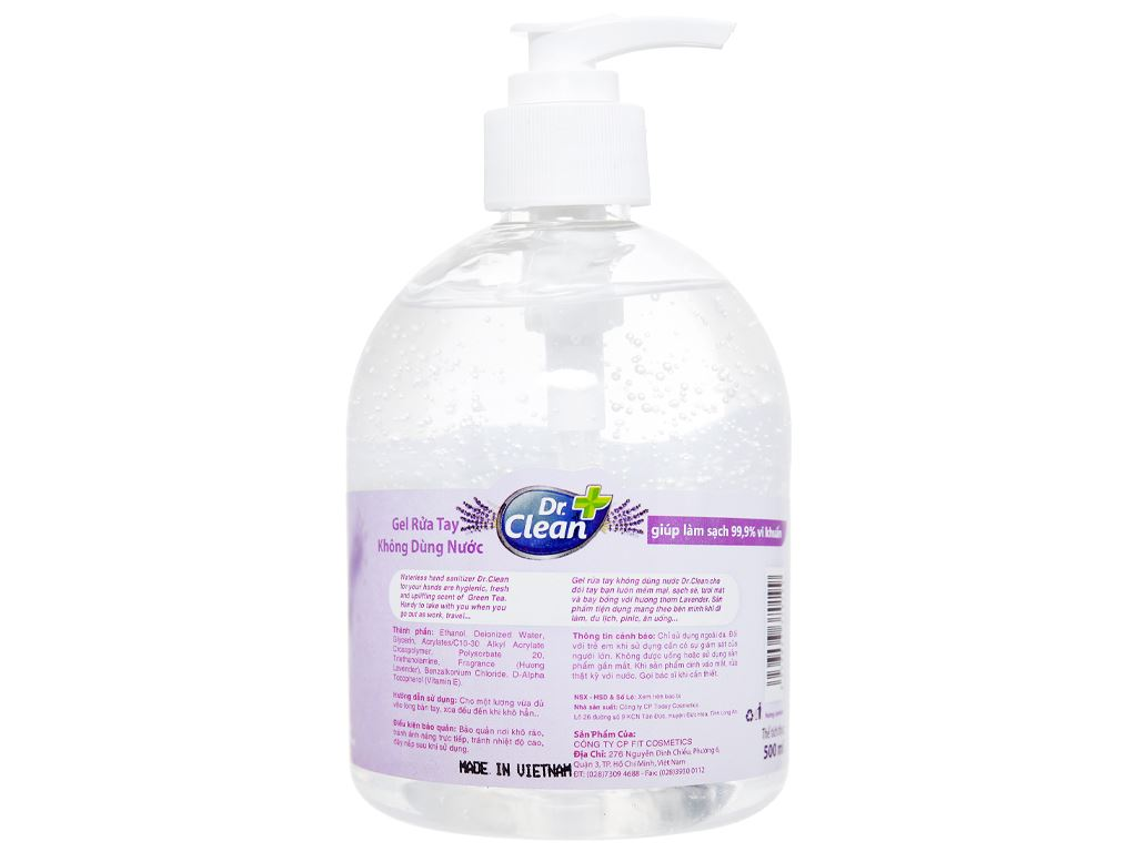 Gel rửa tay khô Dr. Clean hương lavender chai 500ml 2