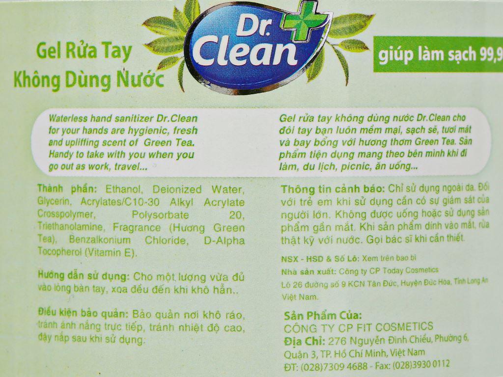 Gel rửa tay khô Dr. Clean hương trà xanh chai 500ml 3