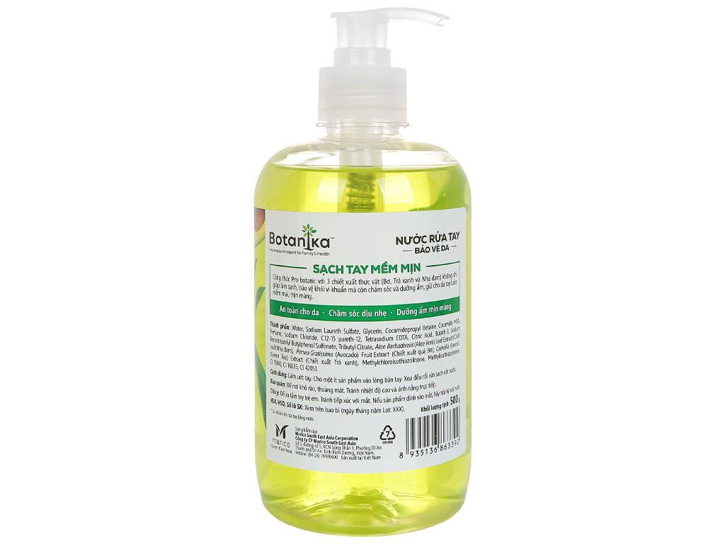 Nước rửa tay Botanika bảo vệ da sạch tay mềm mịn 500g 2